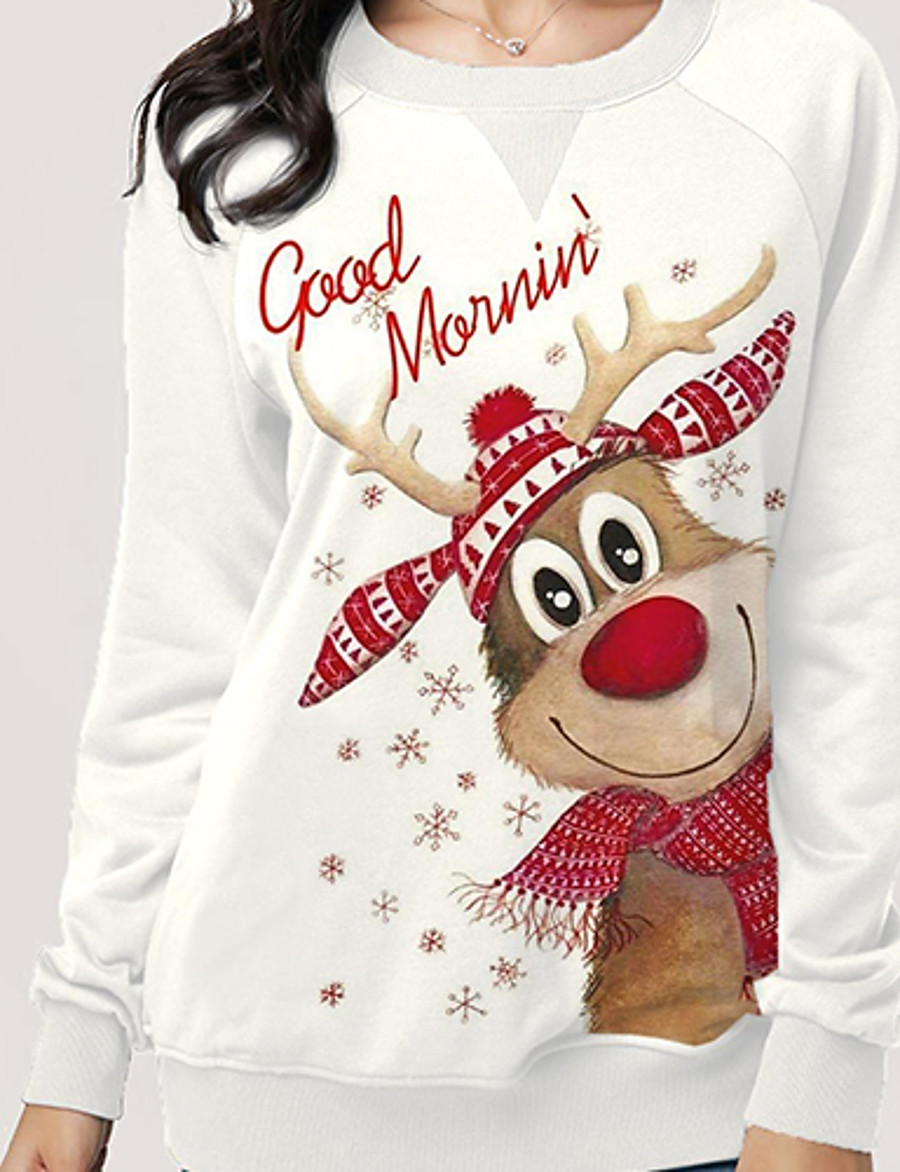 Women's Plus Size Pullover Sweatshirt Reindeer Christmas Hoodies Sweatshirts  Loose White