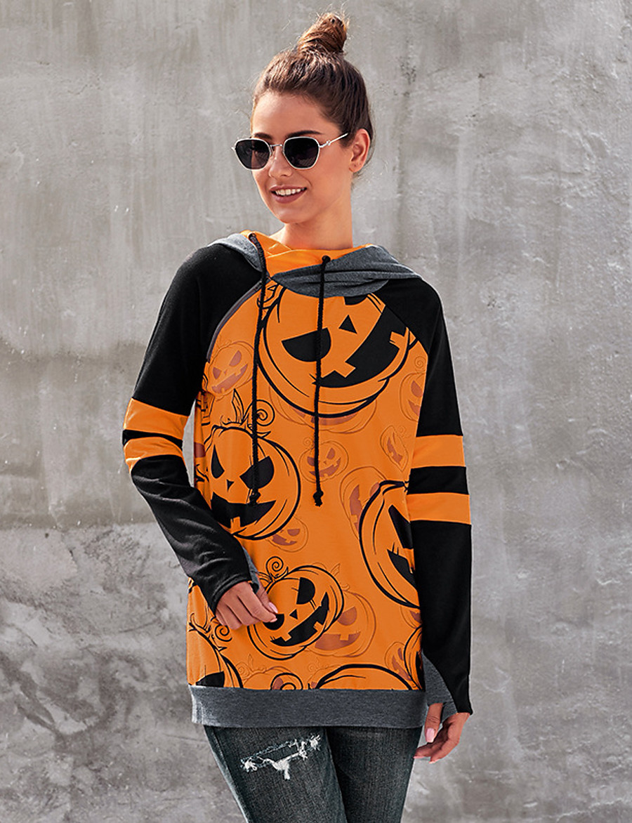 Women's Party Pullover Hoodie Sweatshirt Graphic Pumpkin Front Pocket Basic Halloween Hoodies Sweatshirts  Orange