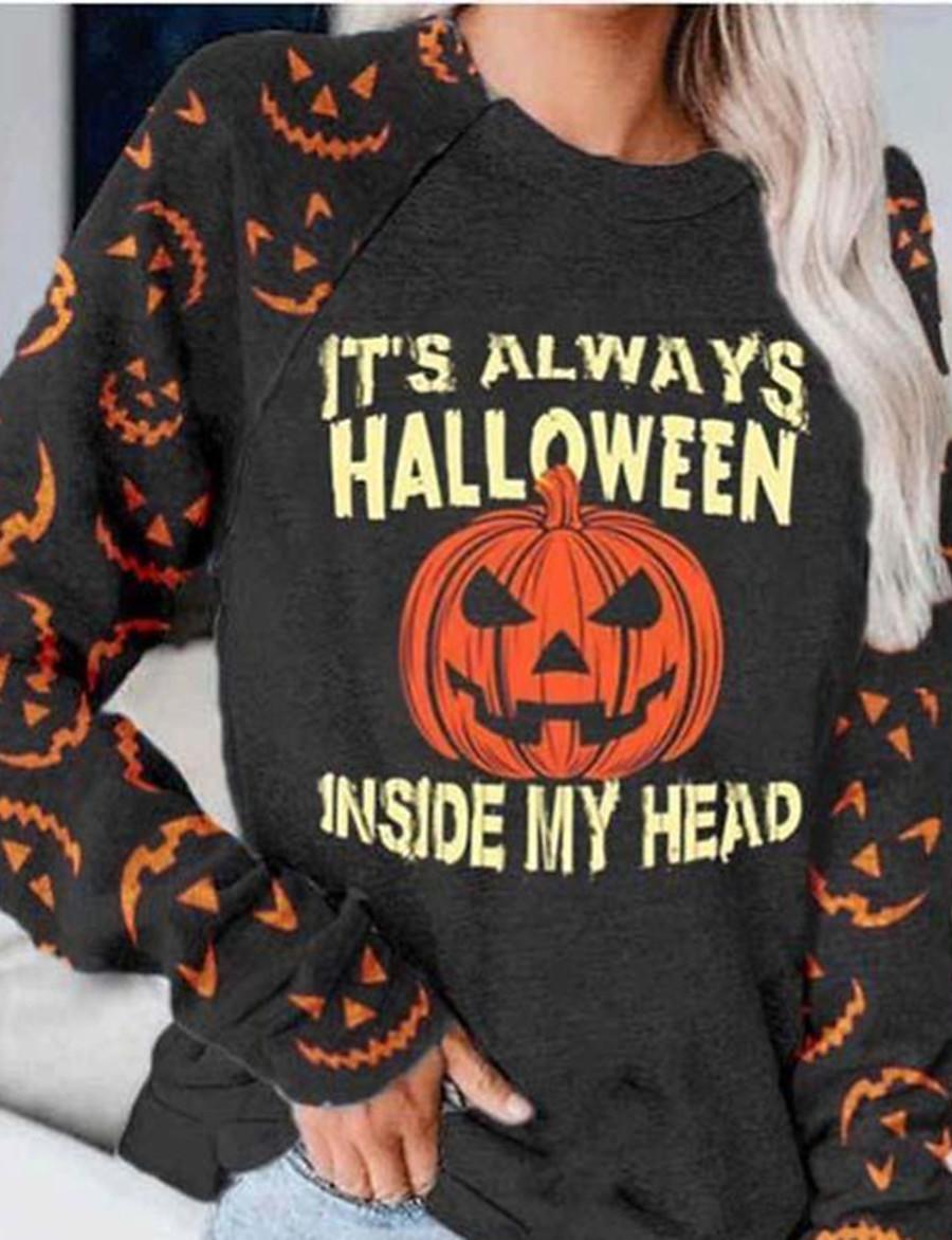 Women's Party Pullover Sweatshirt Graphic Letter Pumpkin Basic Halloween Hoodies Sweatshirts  Dark Gray