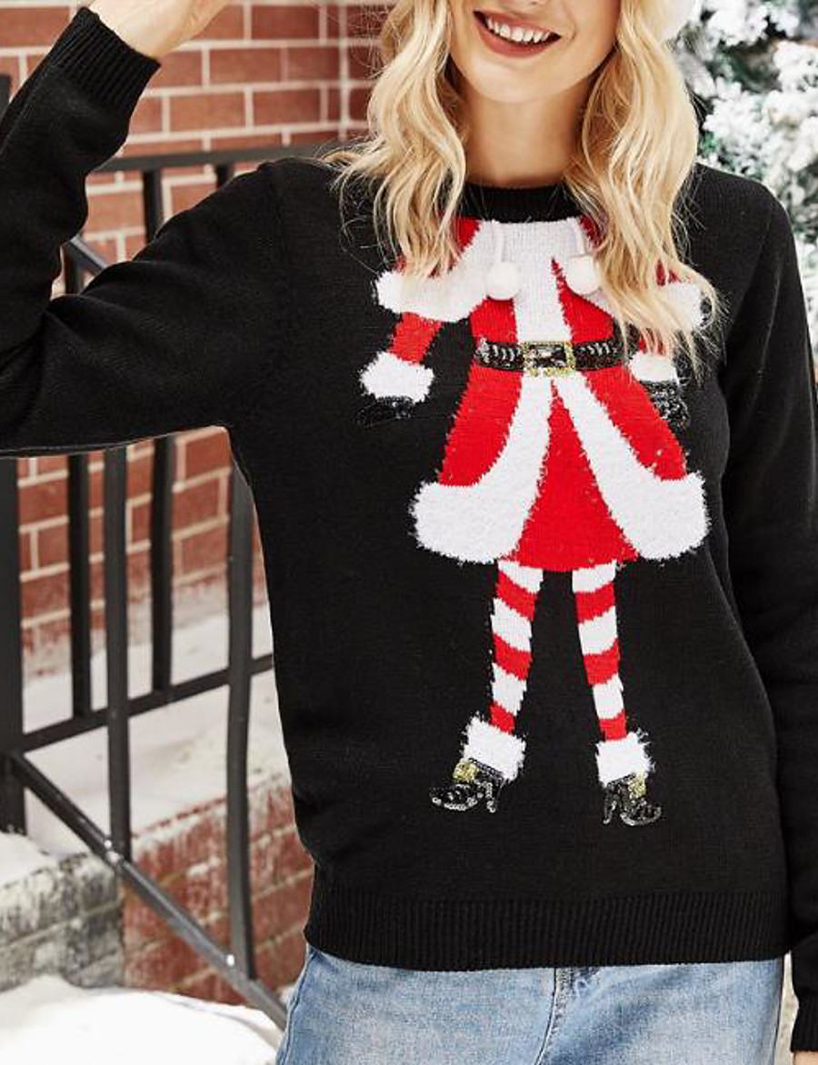 Women's Christmas Knitted Solid Color Pullover Acrylic Fibers Long Sleeve Sweater Cardigans Crew Neck Fall Winter Black