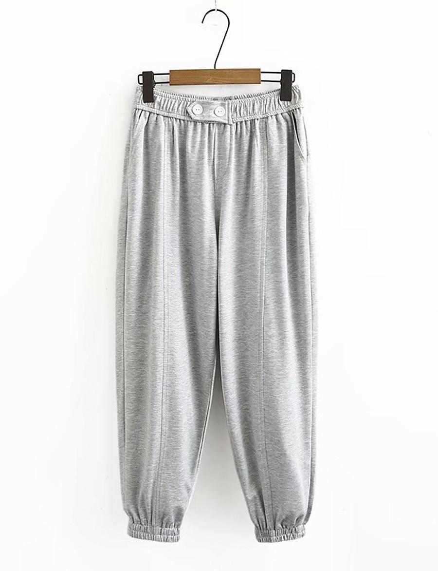 Women's Basic Streetwear Comfort Plus Size Cotton Loose Daily Going out Jogger Pants Solid Colored Full Length High Waist Black Gray