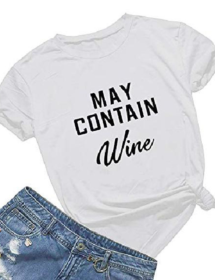 may contain wine t shirt women' s letter print funny wine lovers t-shirt short sleeve tops (white01, s)