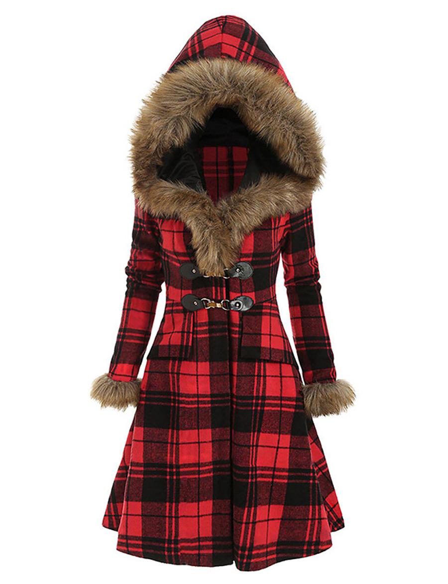 Women's Fall & Winter Coat Long Plaid Daily Active Black Red Khaki S M L XL
