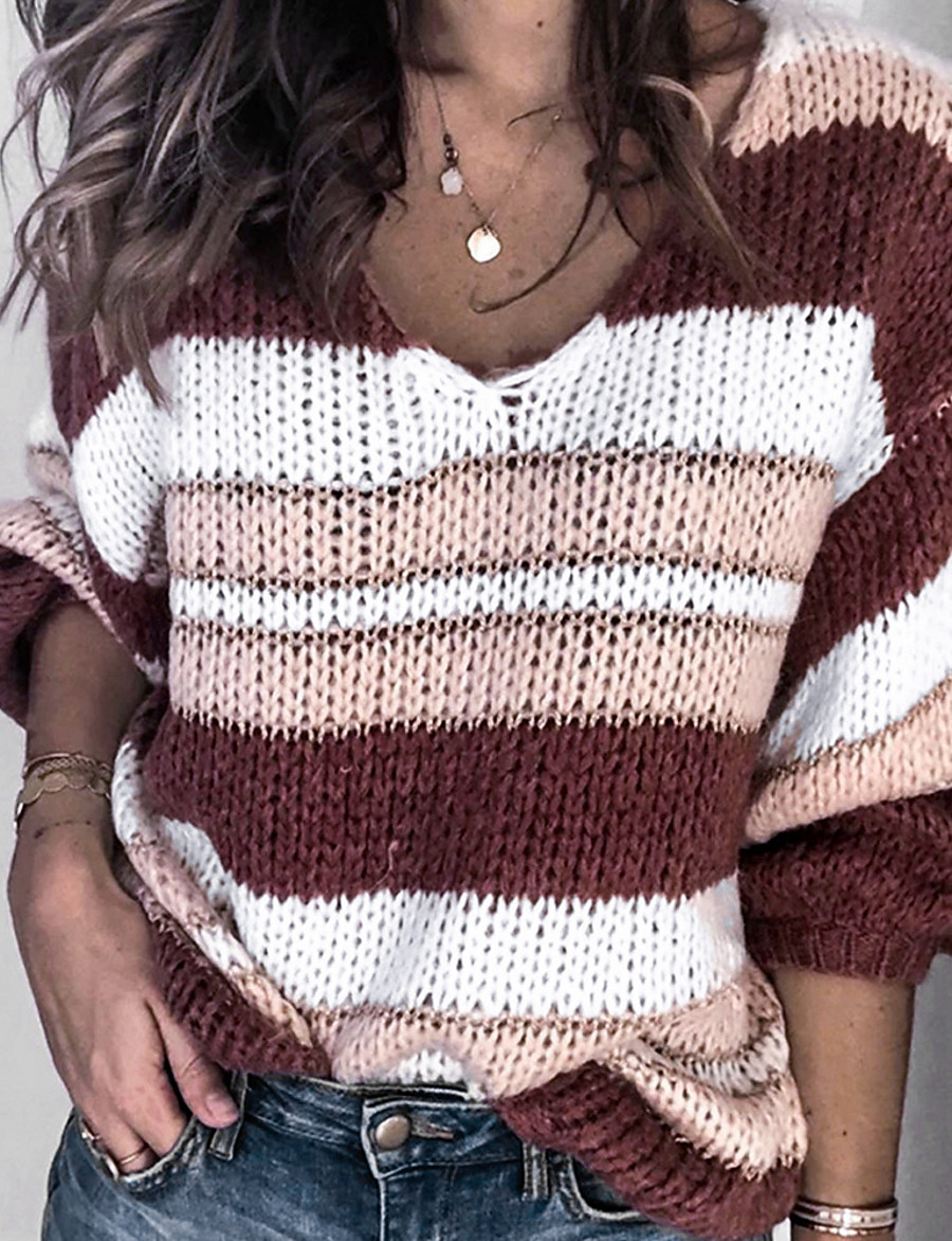 Women's Striped Pullover Long Sleeve Loose Sweater Cardigans V Neck Red Green Gray