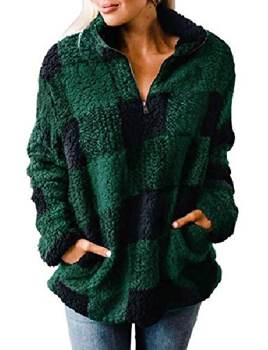 women's autumn winter long sleeve zipper sherpa fleece sweatshirt pullover jacket coat
