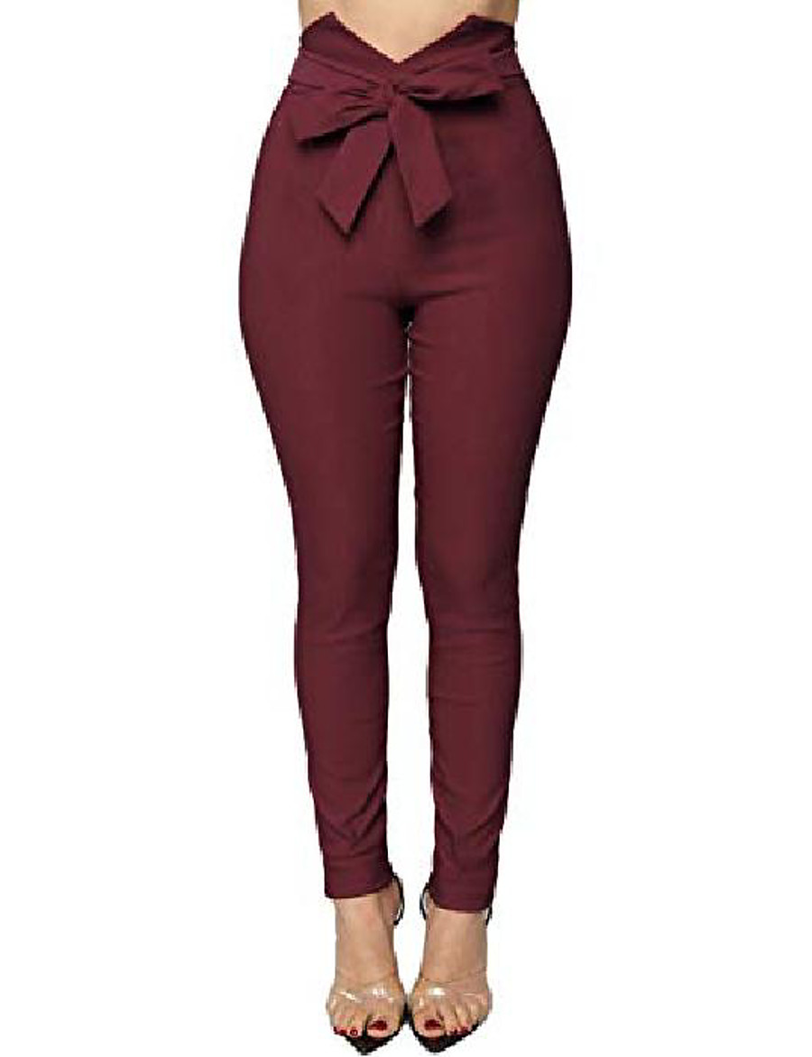women's v cut paper bag waist pants trousers with front bow tie winered small