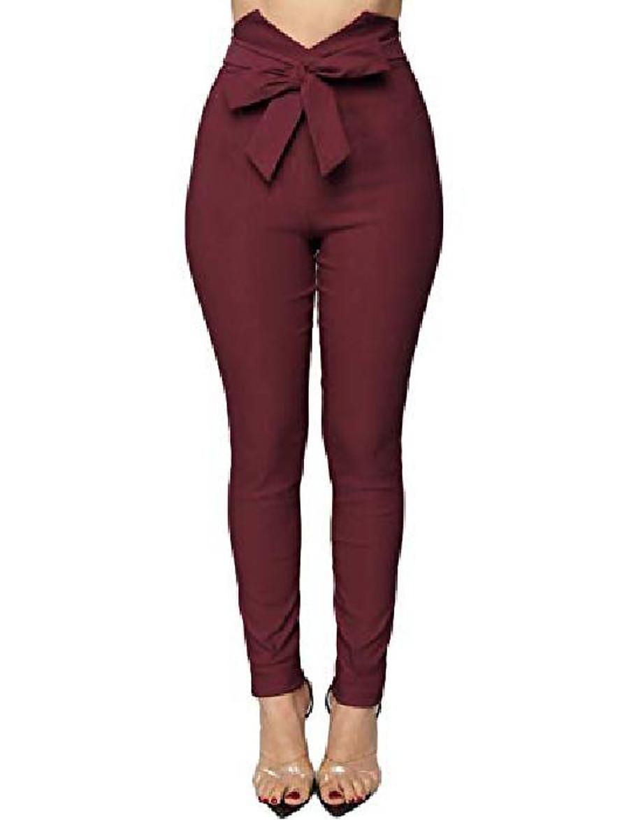 pantalon de taille de sac de papier découpé en v pour femmes avec nœud papillon sur le devant, petit