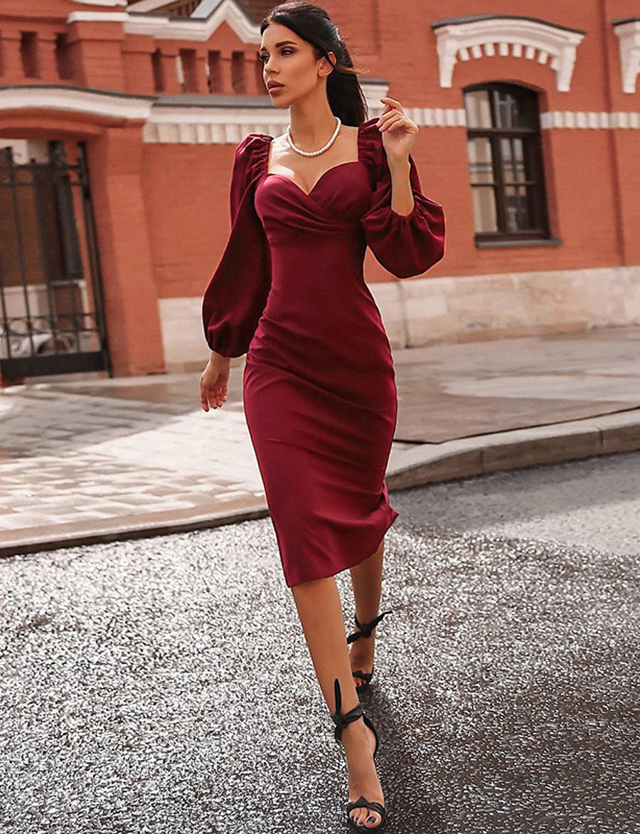 Women's Sheath Dress Midi Dress - Long Sleeve Solid Color Fall Sexy 2020 Black Wine S M L