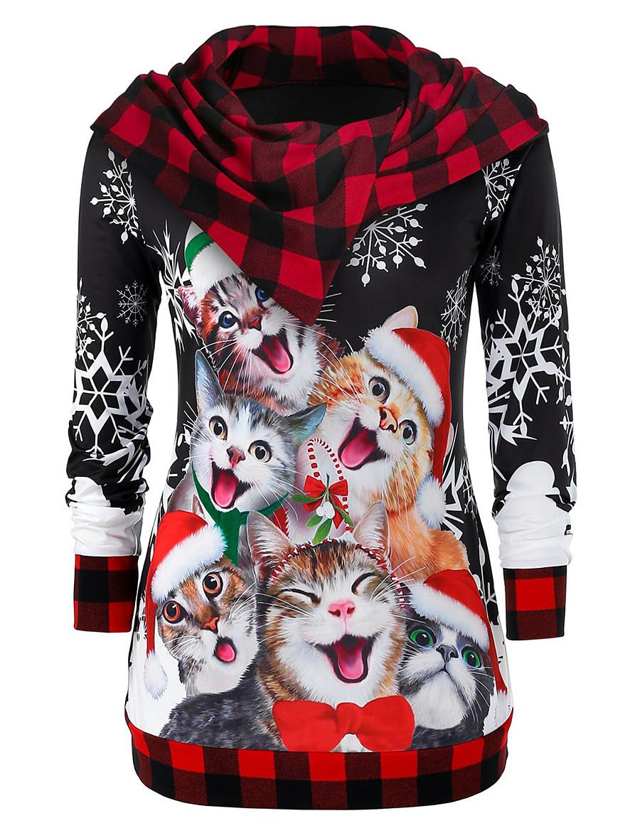 Women's Pullover Hoodie Sweatshirt Print Cat Color Block Daily Casual Christmas Hoodies Sweatshirts  Black