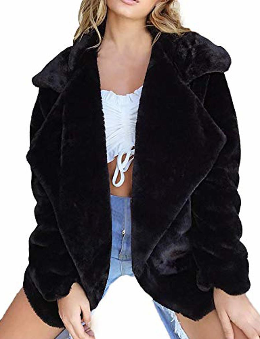 women winter coat keep warm outerwear loose big collar fur coat black