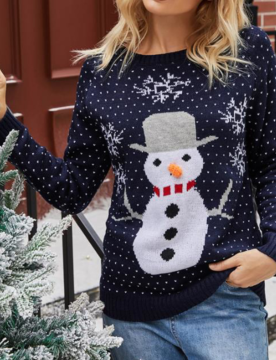 Women's Christmas Knitted Animal Pullover Acrylic Fibers Long Sleeve Sweater Cardigans Crew Neck Fall Winter Navy Blue Gray
