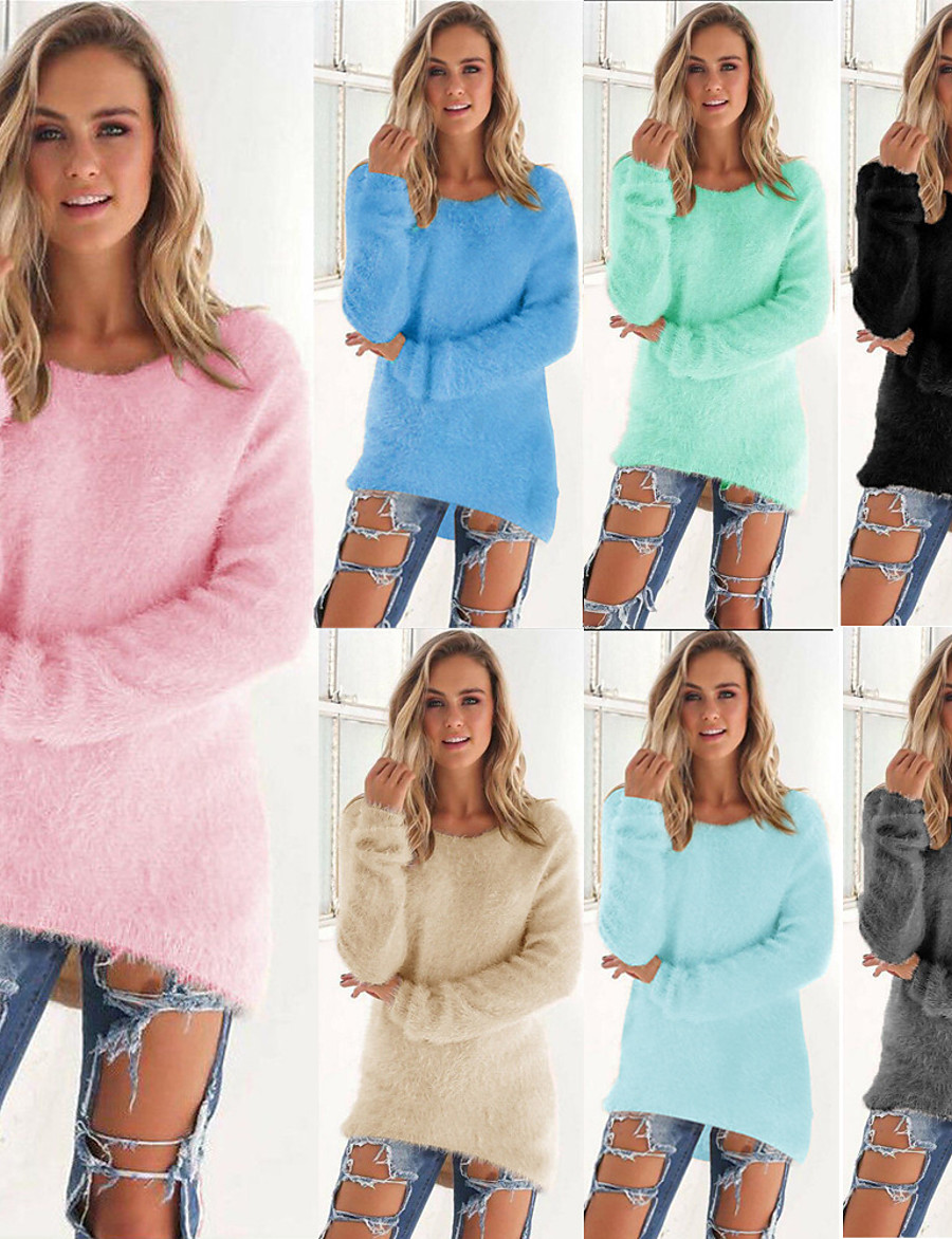 Women's Knitted Solid Color Plain Pullover Long Sleeve Plus Size Sweater Cardigans Crew Neck Fall Winter White Black Blue