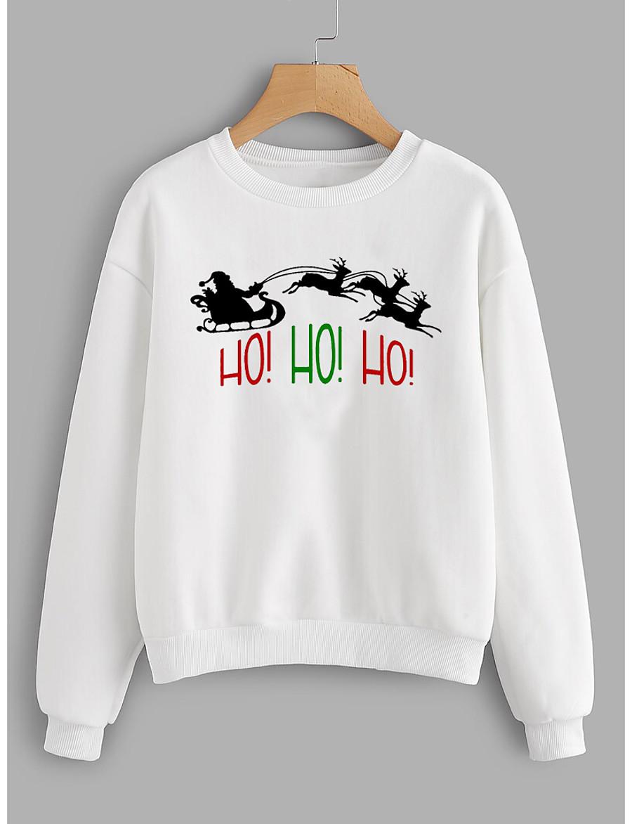 Women's Hoodie Sweatshirt Graphic Letter Christmas Daily Basic Christmas Hoodies Sweatshirts  Cotton Slim Yellow Blushing Pink Green