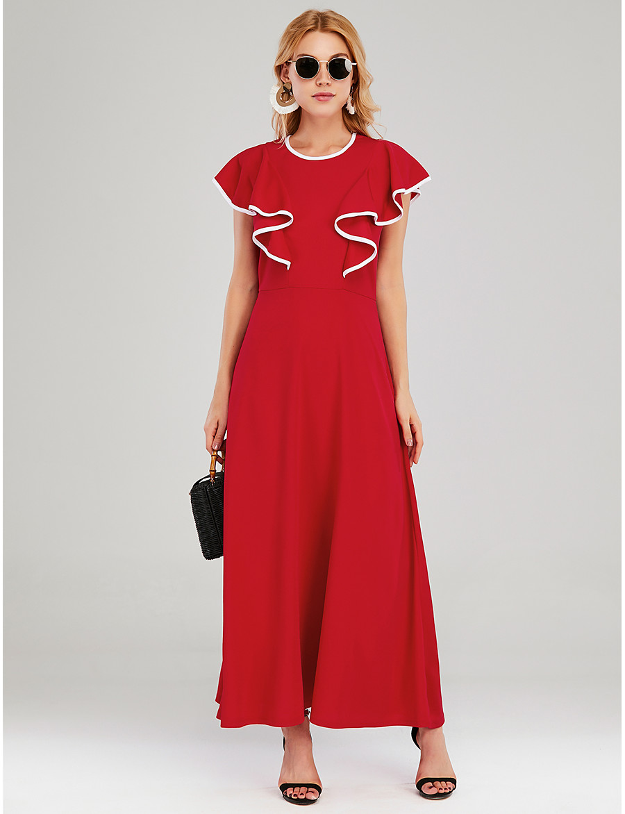 Women's A-Line Dress Maxi long Dress - Sleeveless Solid Color Ruffle Patchwork Spring Summer Casual Elegant 2020 Red S M L XL
