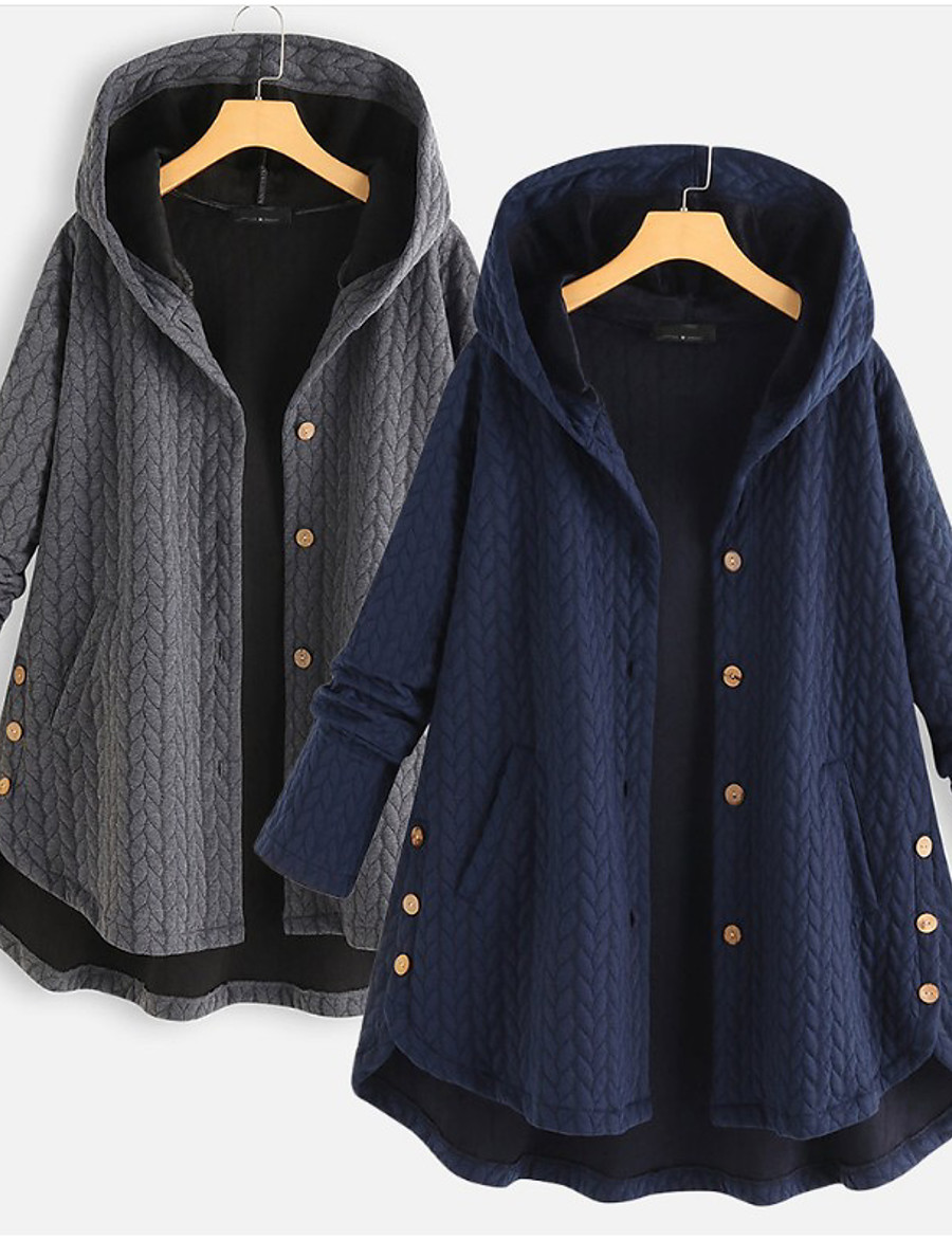 Women's Fall Single Breasted Cloak / Capes Regular Solid Colored Daily Active Patchwork Cotton Dusty Blue Gray M L XL XXL / Loose