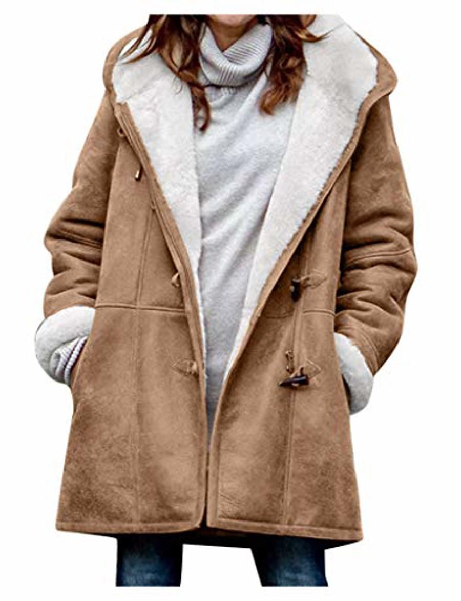 Women's Regular Dailywear Coats / Jackets Black Red Green Brown S M L XL