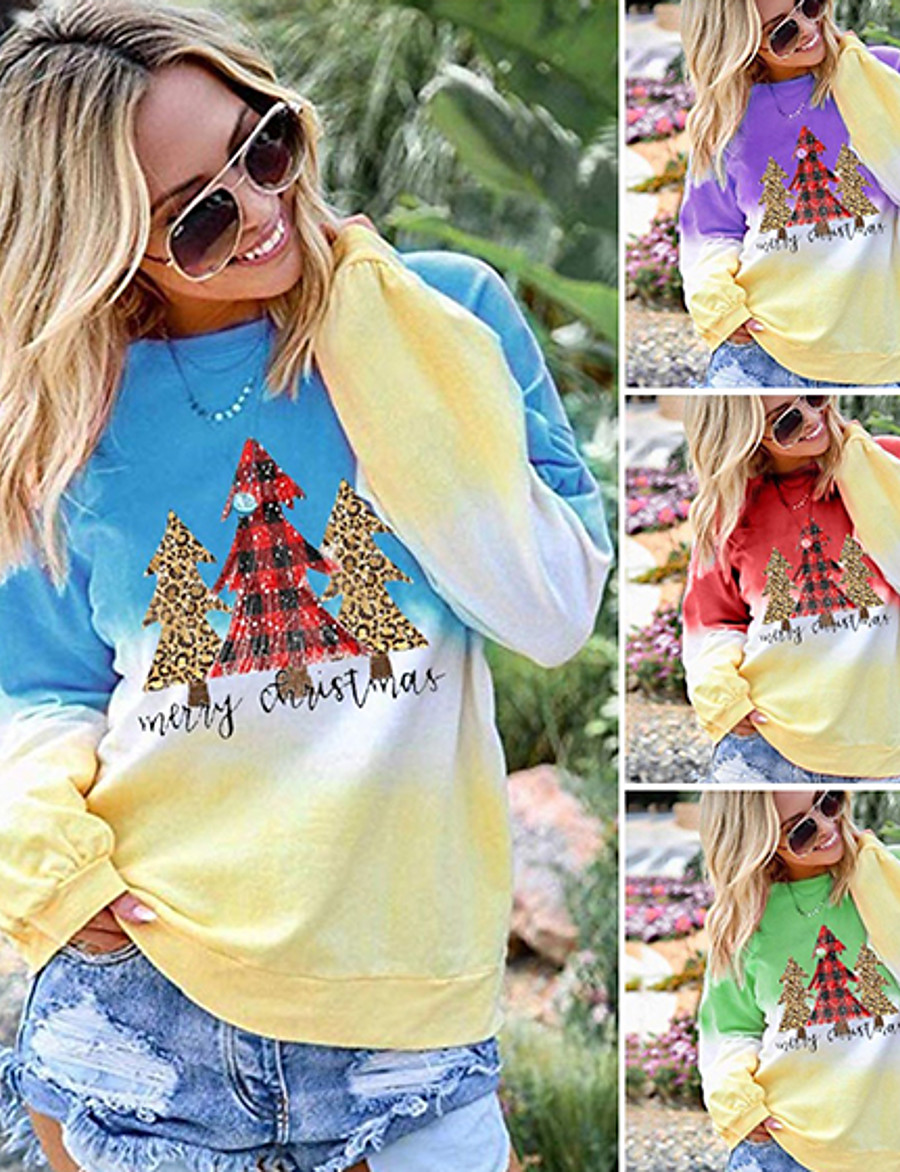 Women's Pullover Sweatshirt Graphic Daily Other Prints Basic Christmas Hoodies Sweatshirts  Cotton Loose 6950 purple Blue Purple