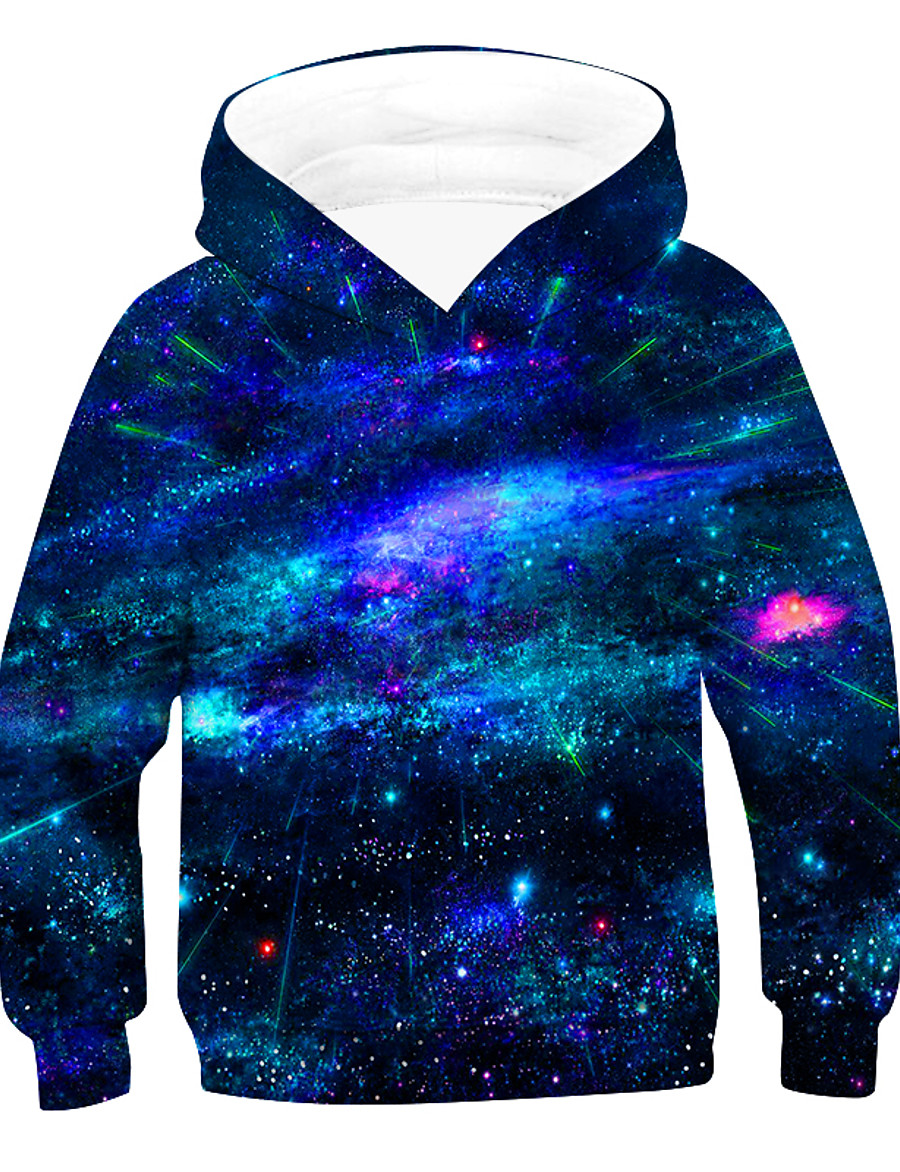 Kids Boys' Hoodie & Sweatshirt Pullover Long Sleeve 3D Print Galaxy With Pockets Unisex Purple Red Army Green Children Tops Active Basic Children's Day 2-12 Years