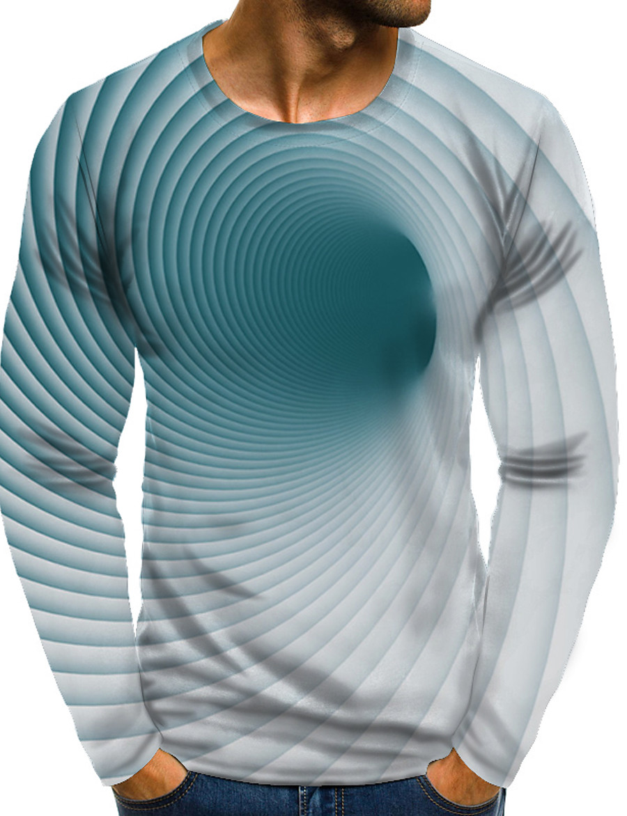 Men's T shirt Shirt 3D Print Graphic 3D Plus Size Print Long Sleeve Daily Tops Elegant Exaggerated Round Neck Green
