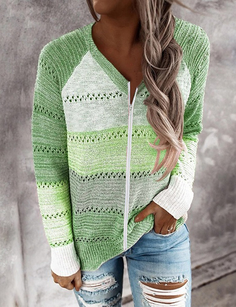 Women's Knitted Color Block Pullover Cotton Long Sleeve Sweater Cardigans V Neck Fall Red Blushing Pink Green