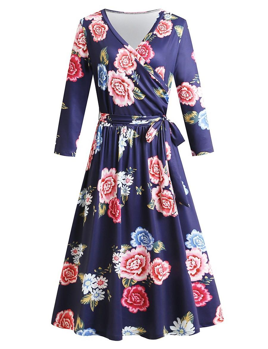 Damen Swing Kleid Midi Kleid - Langarm Print Schnür Print ...