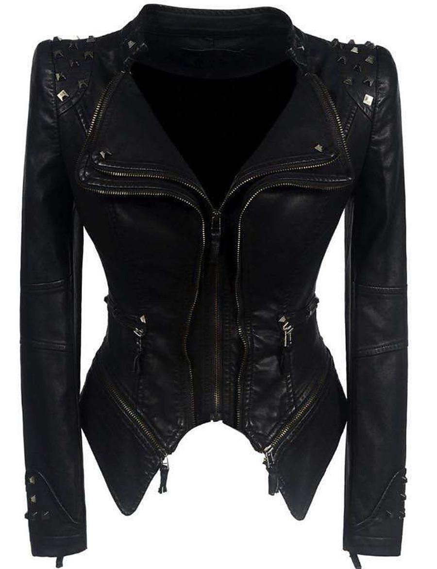 Women's Faux Leather Jacket Short Solid Colored Daily Active Rivet Black S M L XL