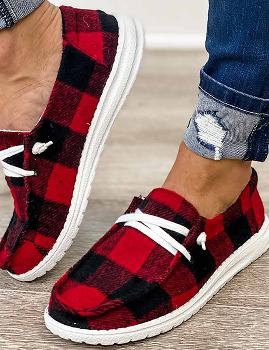 Women's Flats Slip-on Sneakers Flat Heel Closed Toe Casual Daily Walking Shoes Canvas Lace-up Leopard Leopard Red Black