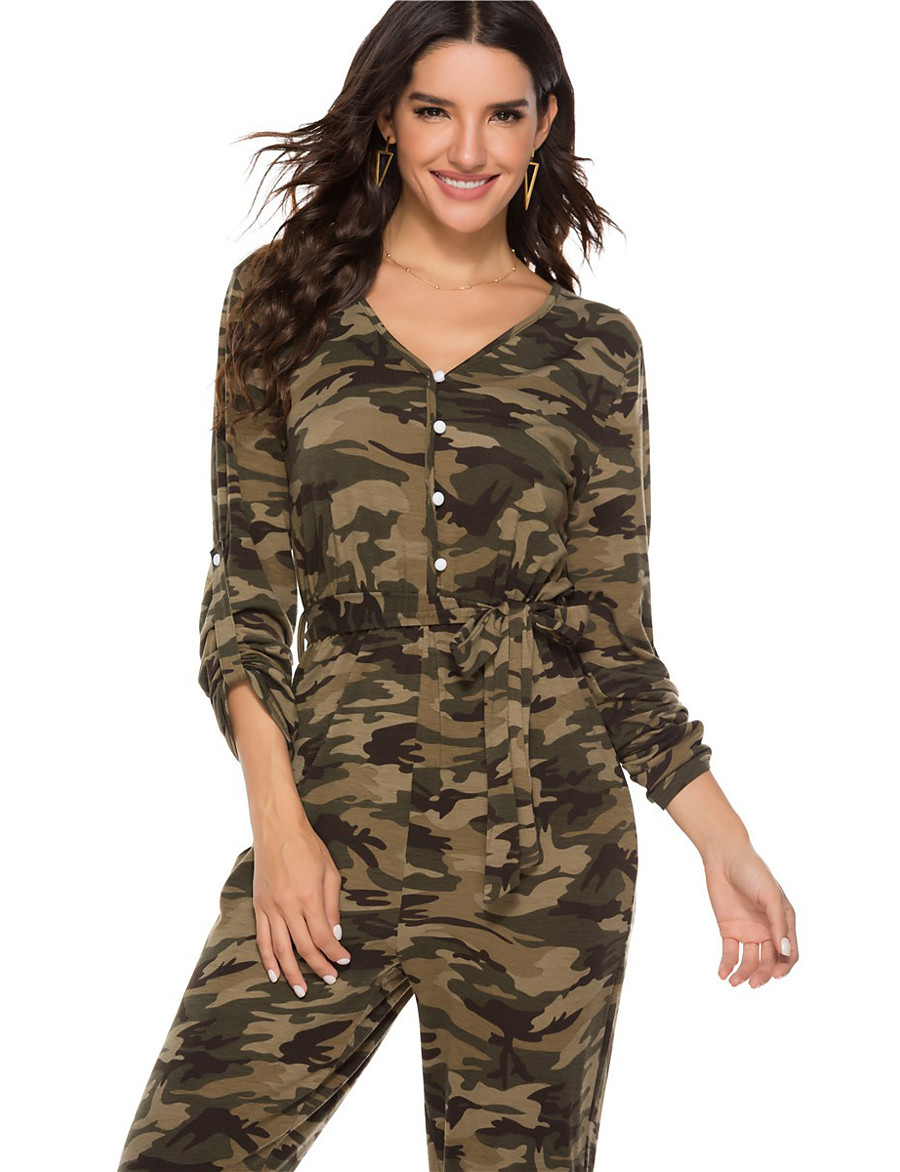 Women's Basic Army Green Jumpsuit Color Block Bow Lace up Print