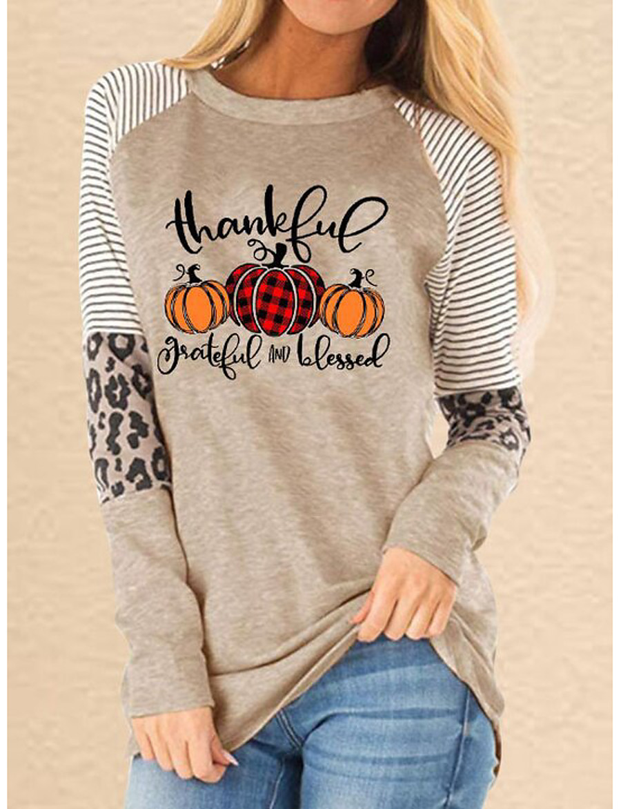 Women's Pullover Sweatshirt Graphic Leopard Text Monograms Daily Casual Hoodies Sweatshirts  Slim White Khaki Gray / Letter