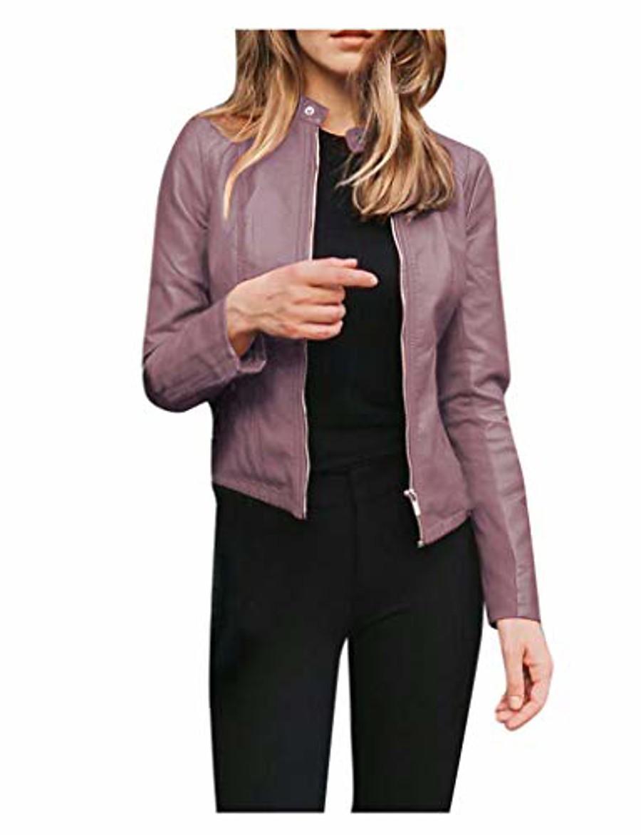 original leather jacket women coat purple xxl