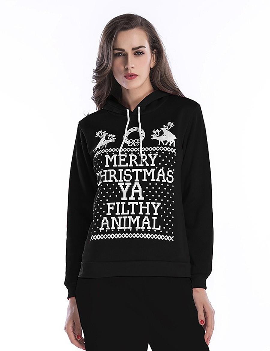 Women's Pullover Hoodie Sweatshirt Graphic Christmas 3D Print Basic Hoodies Sweatshirts  Loose White Black Red