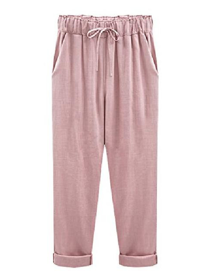 women's casual loose baggy linen drawstring summer thin cropped harem pants  xx large pink
