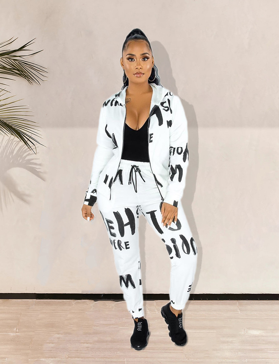 Women's Letter Two Piece Set Shirt Collar Hoodie Pant Print Tops