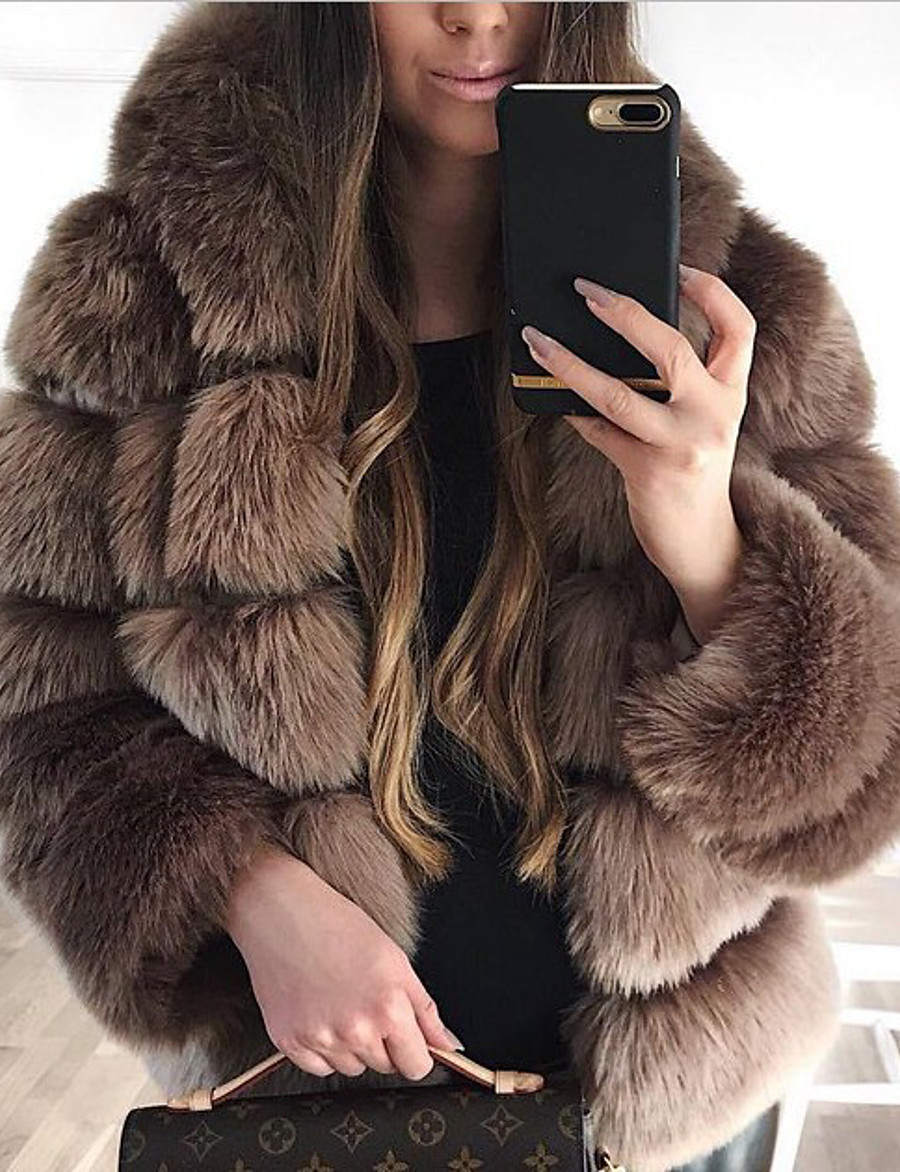 Women's Fall & Winter Open Front Coat Long Solid Colored Daily Active Patchwork Faux Fur White Black Red Blushing Pink S M L XL / Loose