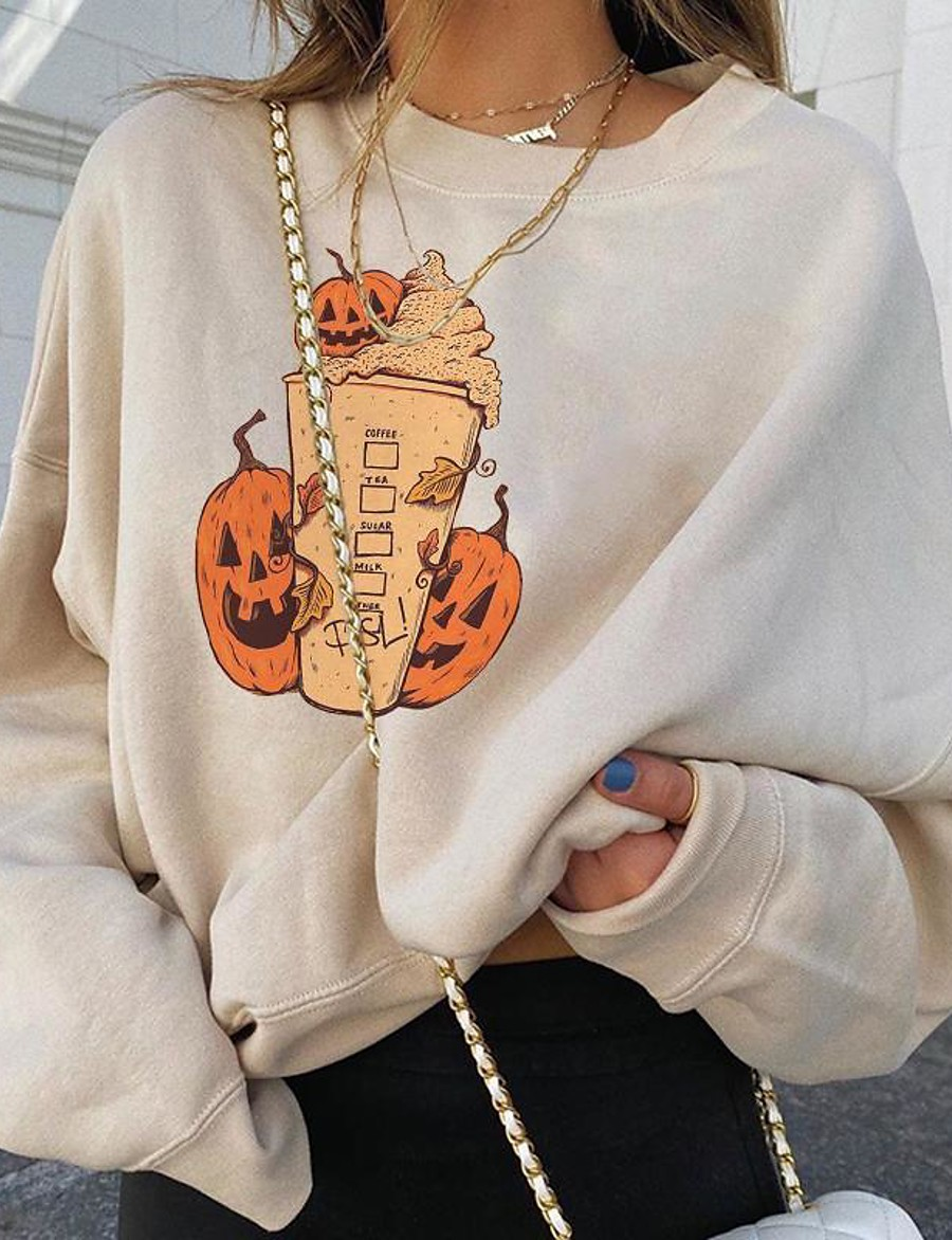 Women's Daily Pullover Sweatshirt Pumpkin Basic Hoodies Sweatshirts  Cotton Loose White