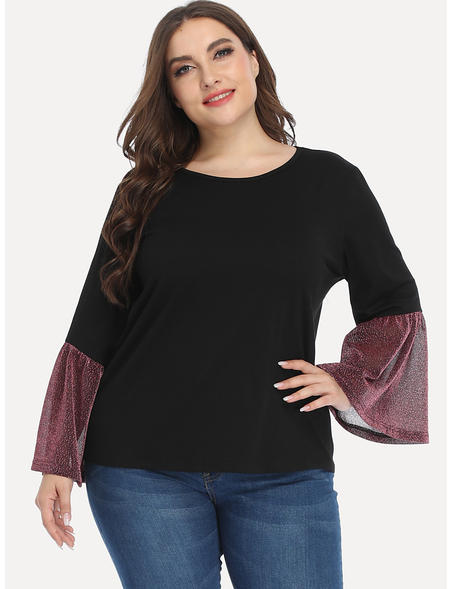 Women's Plus Size Blouse Shirt Color Block Long Sleeve Ruffle Mesh Round Neck Tops Basic Basic Top Black