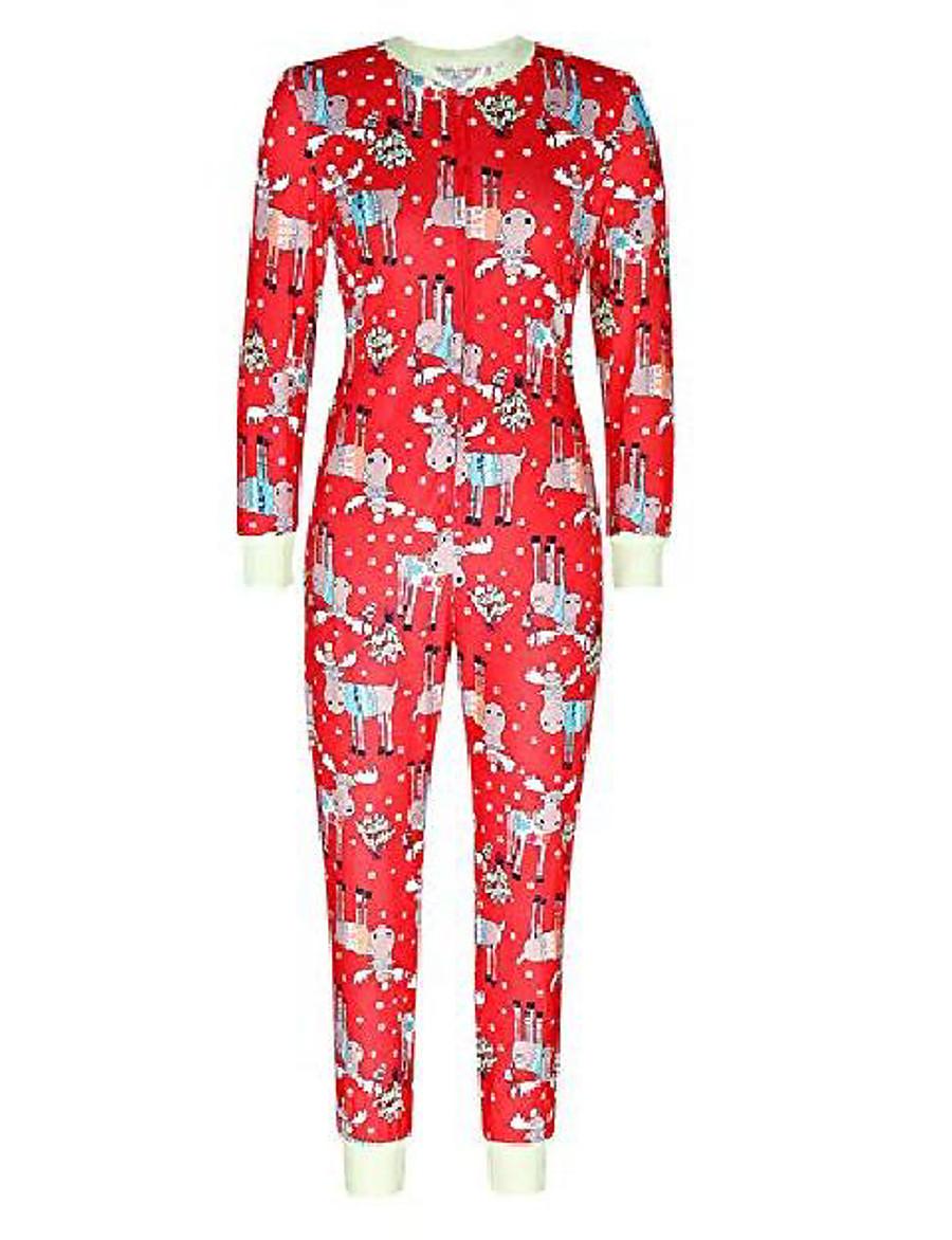 women christmas reindeer pajamas casual sleepwear jumpsuits rompers red l