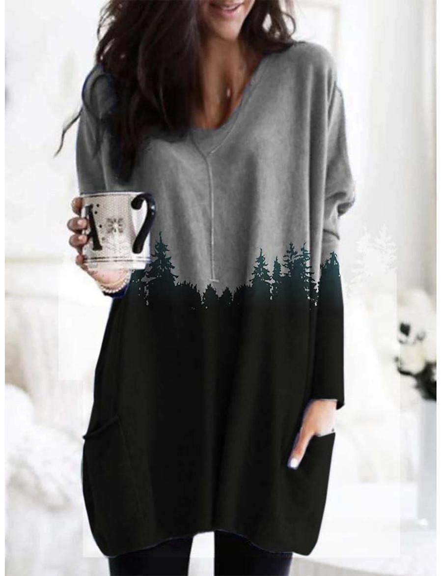 Damen T-Shirt Kleid Minikleid - Langarm Einfarbig Druck ...