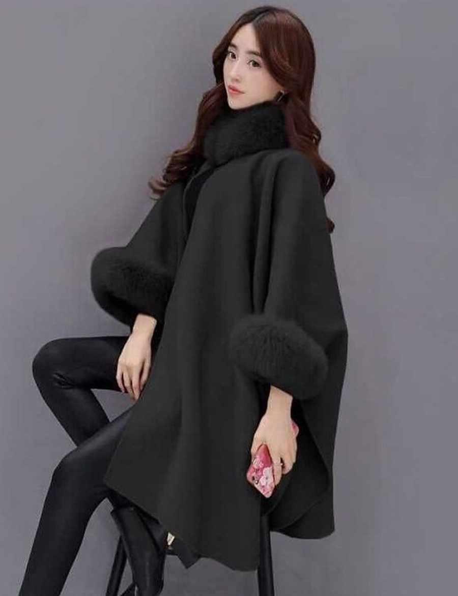 Women's Fall & Winter Single Breasted One-button Cloak / Capes Long Solid Colored Daily Streetwear Fur Trim Black Camel Gray S M L XL / Work / Oversized