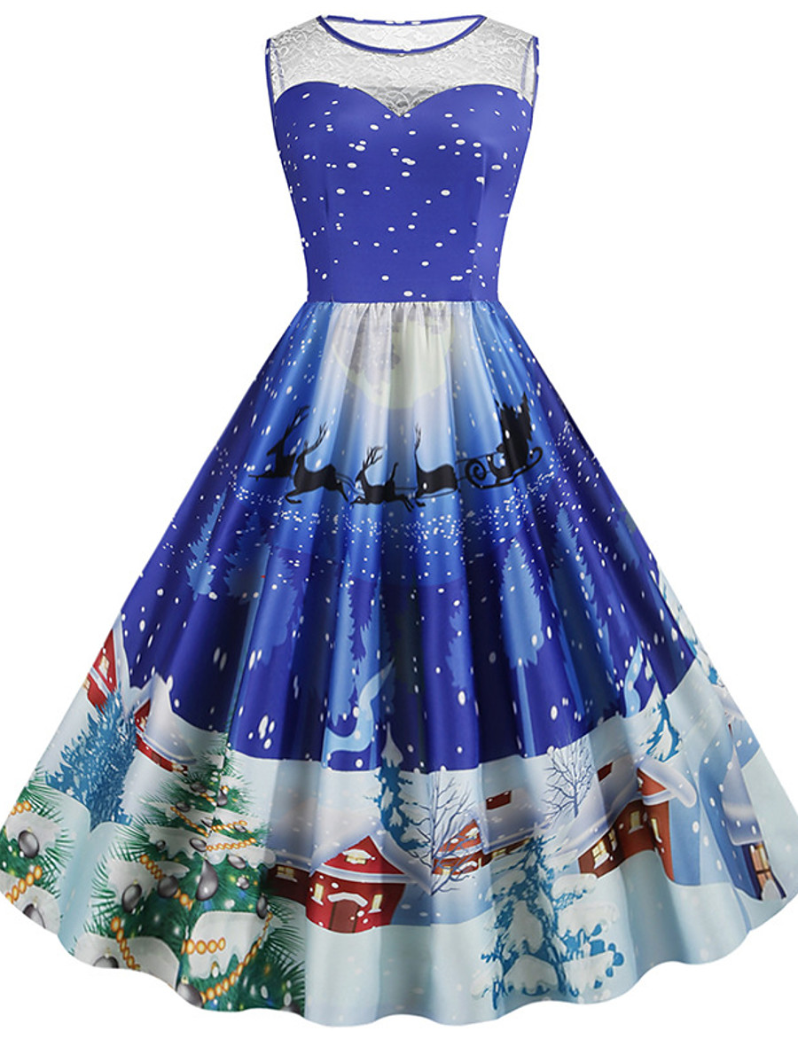 Women's Knee Length Dress A Line Dress Blue Purple Blushing Pink Green Red Sleeveless Lace Print Print Round Neck Fall Summer Christmas Vintage 2021 Slim S M L XL XXL 3XL 4XL 5XL