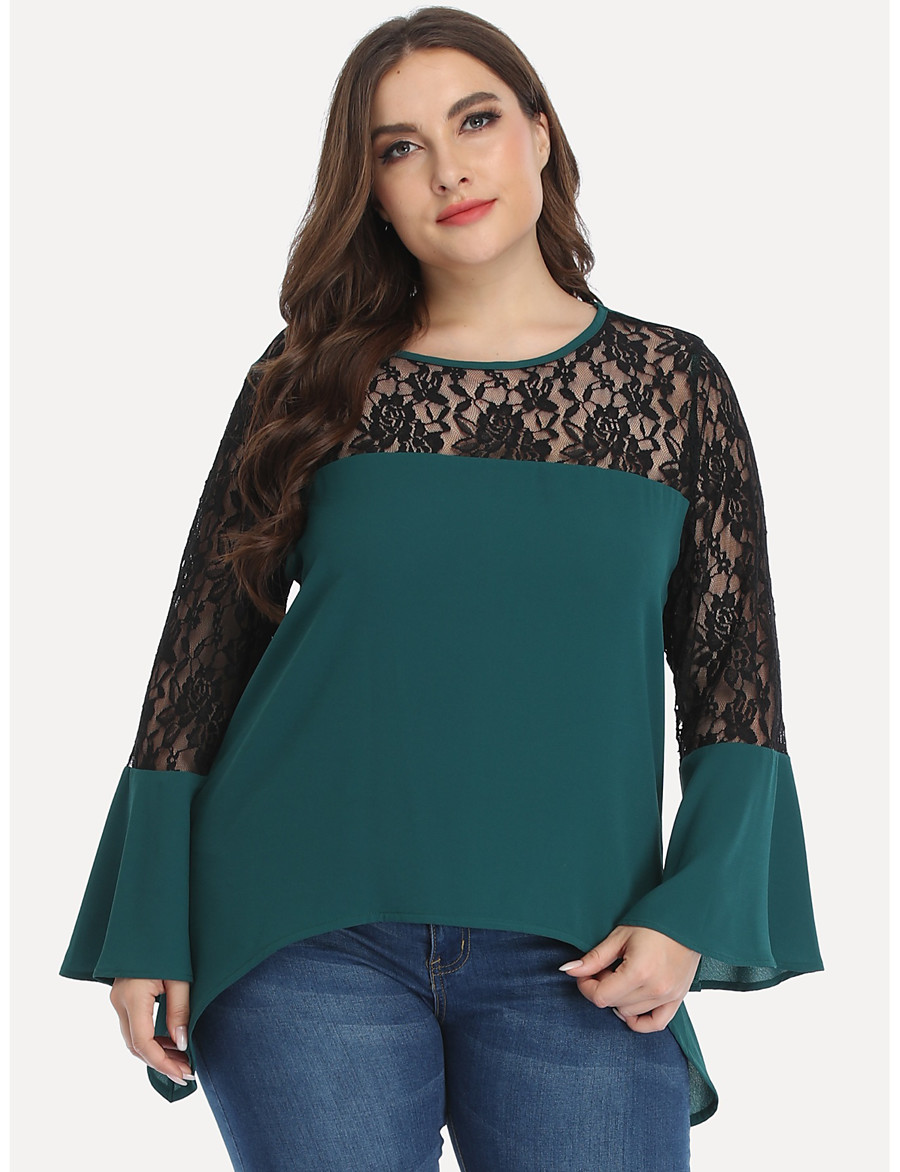 Women's Plus Size Blouse Shirt Solid Colored Long Sleeve Lace Ruffle Patchwork Round Neck Tops Basic Basic Top Green