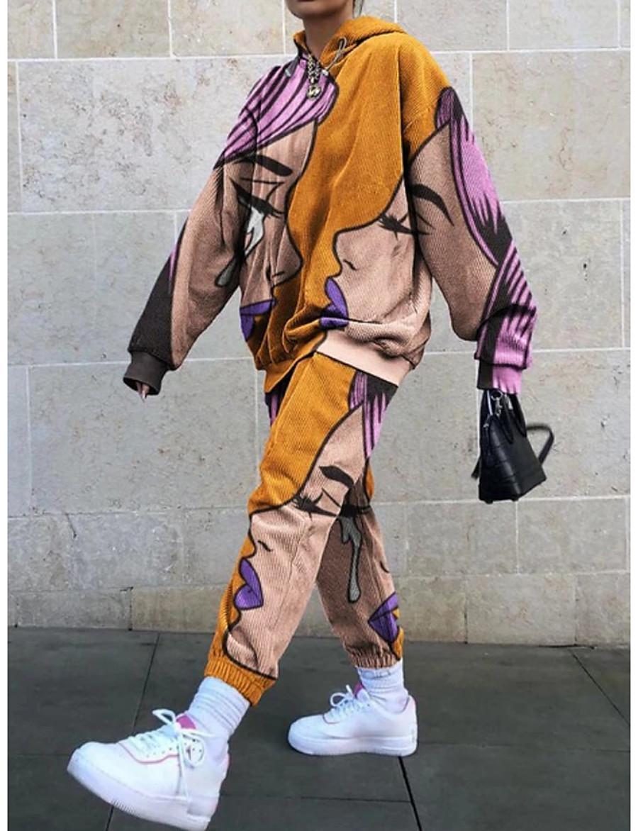 Women's Streetwear Print Two Piece Set Hooded Sweatshirt Pant Loungewear Drawstring Tops / Loose