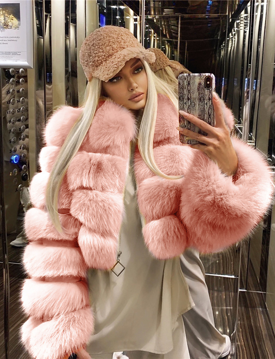 Women's Zipper Fur Coat Regular Solid Colored Daily Basic White Black Blue Red S M L XL