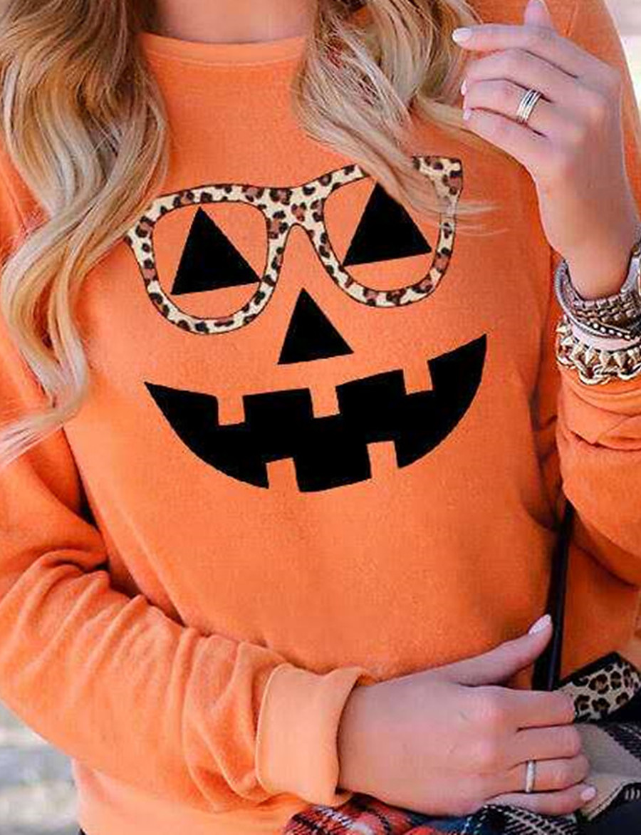 Women's Party Pullover Sweatshirt Pumpkin Basic Halloween Hoodies Sweatshirts  Black Yellow Orange