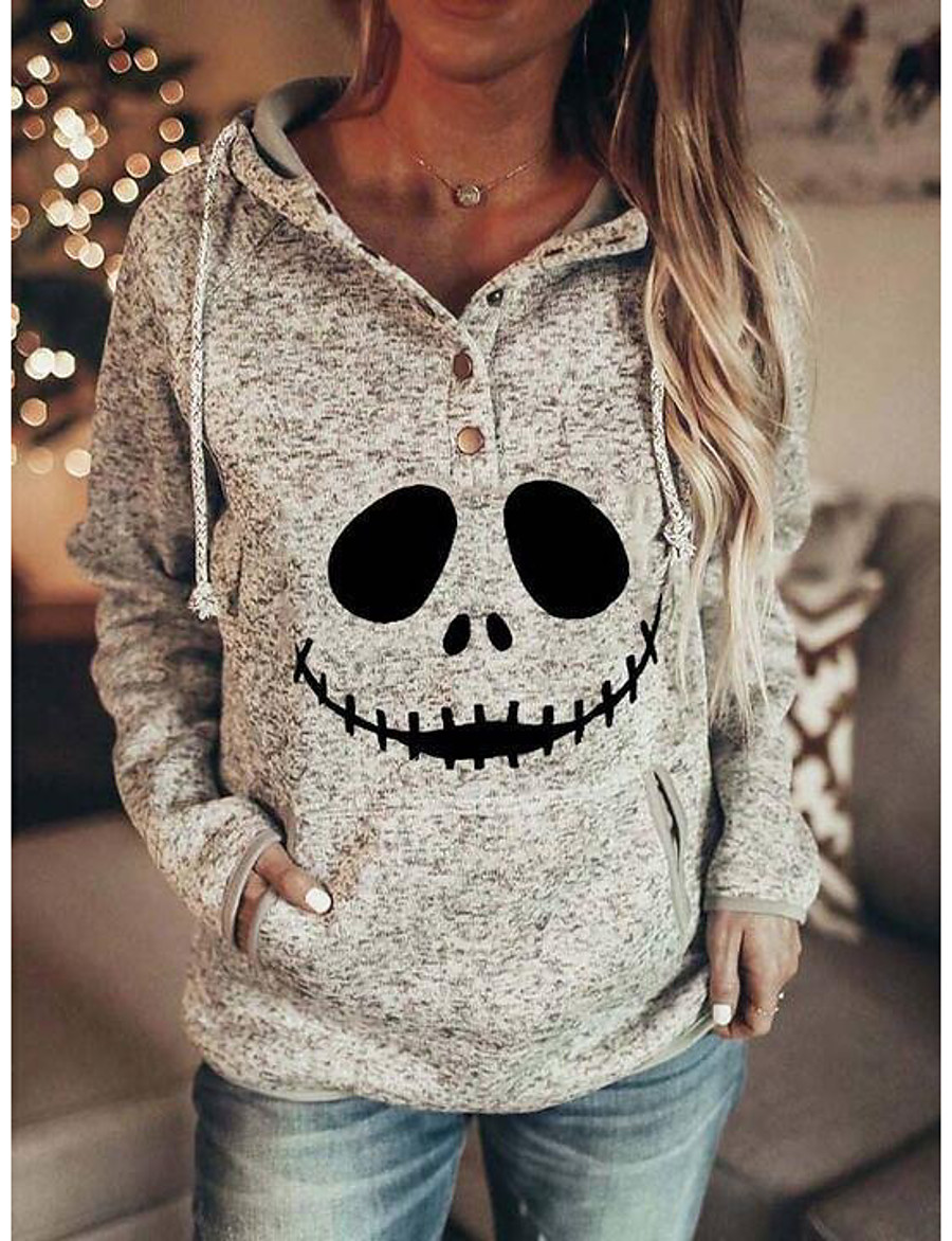 Women's Plus Size Halloween Pullover Hoodie Sweatshirt Skull Basic Halloween Hoodies Sweatshirts  Cotton Gray