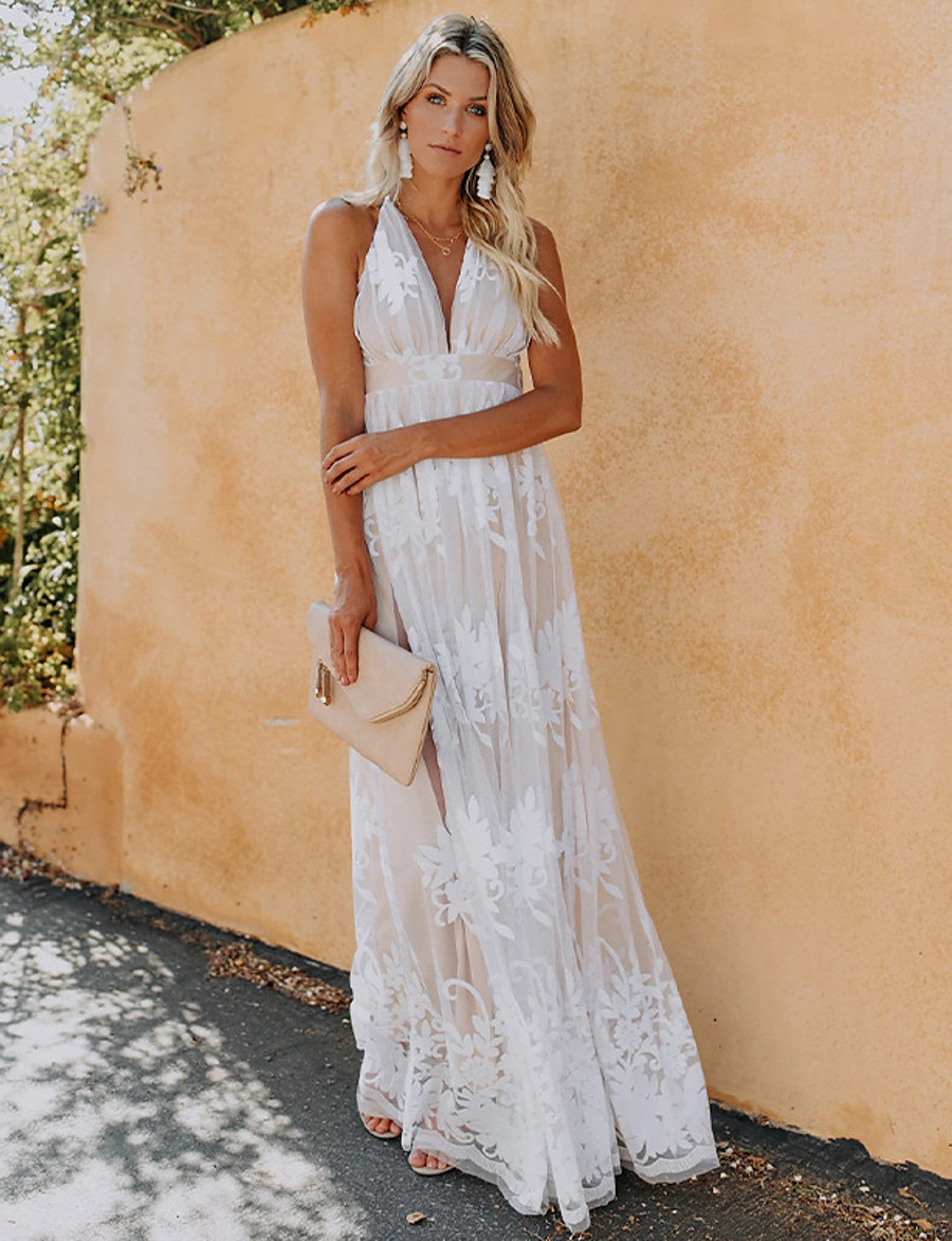 Women's Swing Dress Maxi long Dress Blushing Pink Royal Blue White Sleeveless Solid Color Backless Lace Spring Summer V Neck Elegant Casual Holiday Party 2021 S M L XL