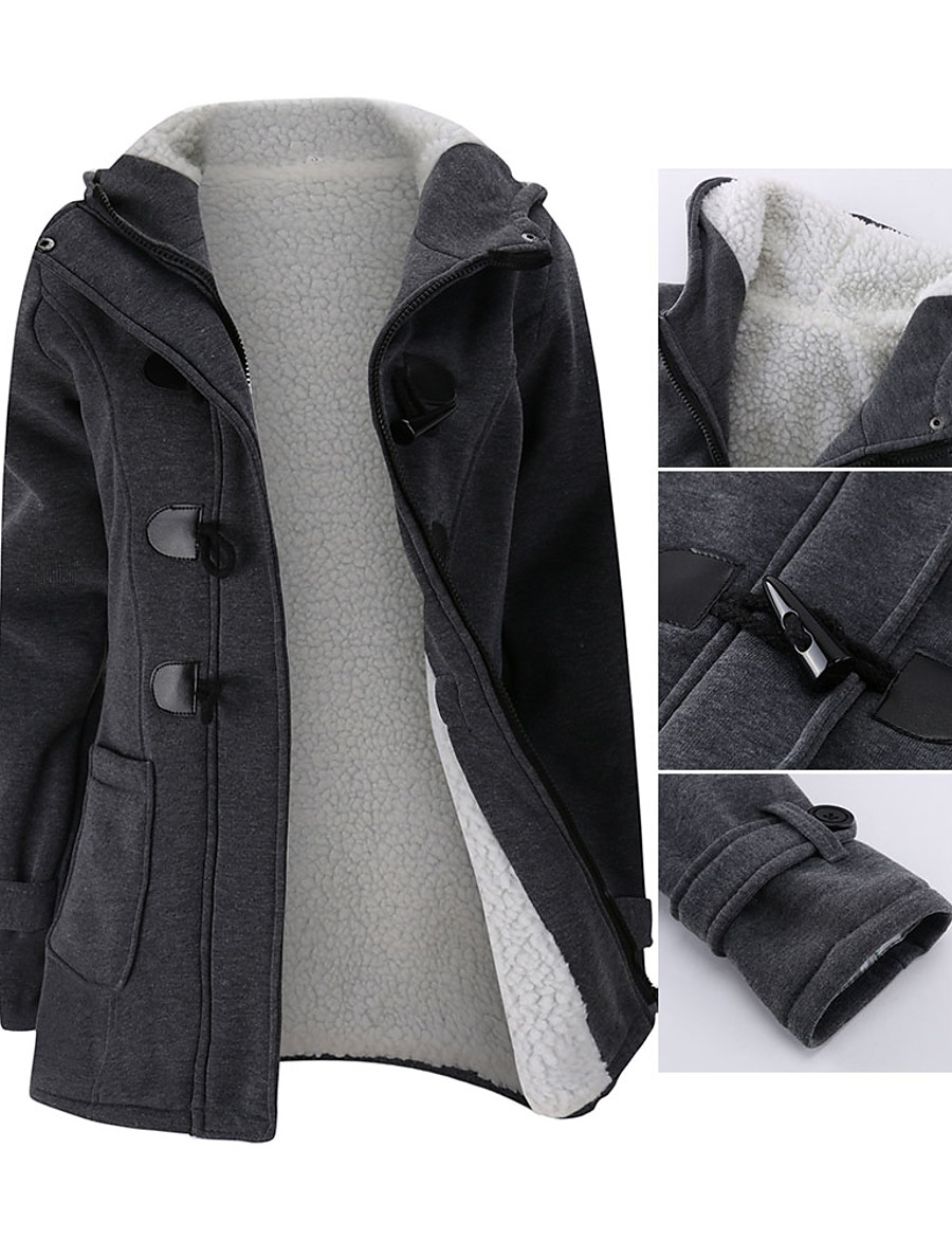 Women's Zipper Jacket Regular Solid Colored Daily Basic Black Blue Wine Light gray S M L XL