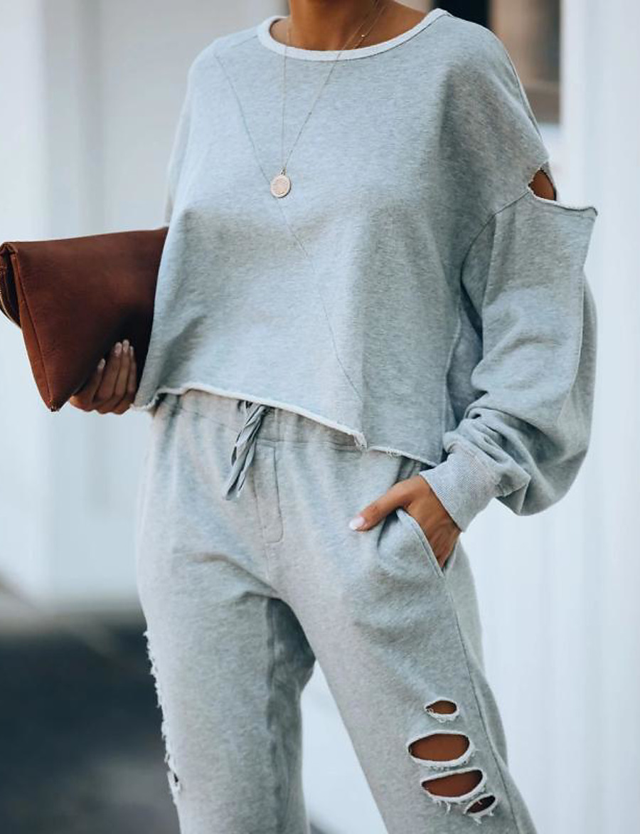 Women's Basic Solid Color Two Piece Set Sweatshirt Pant Hole Drawstring Tops
