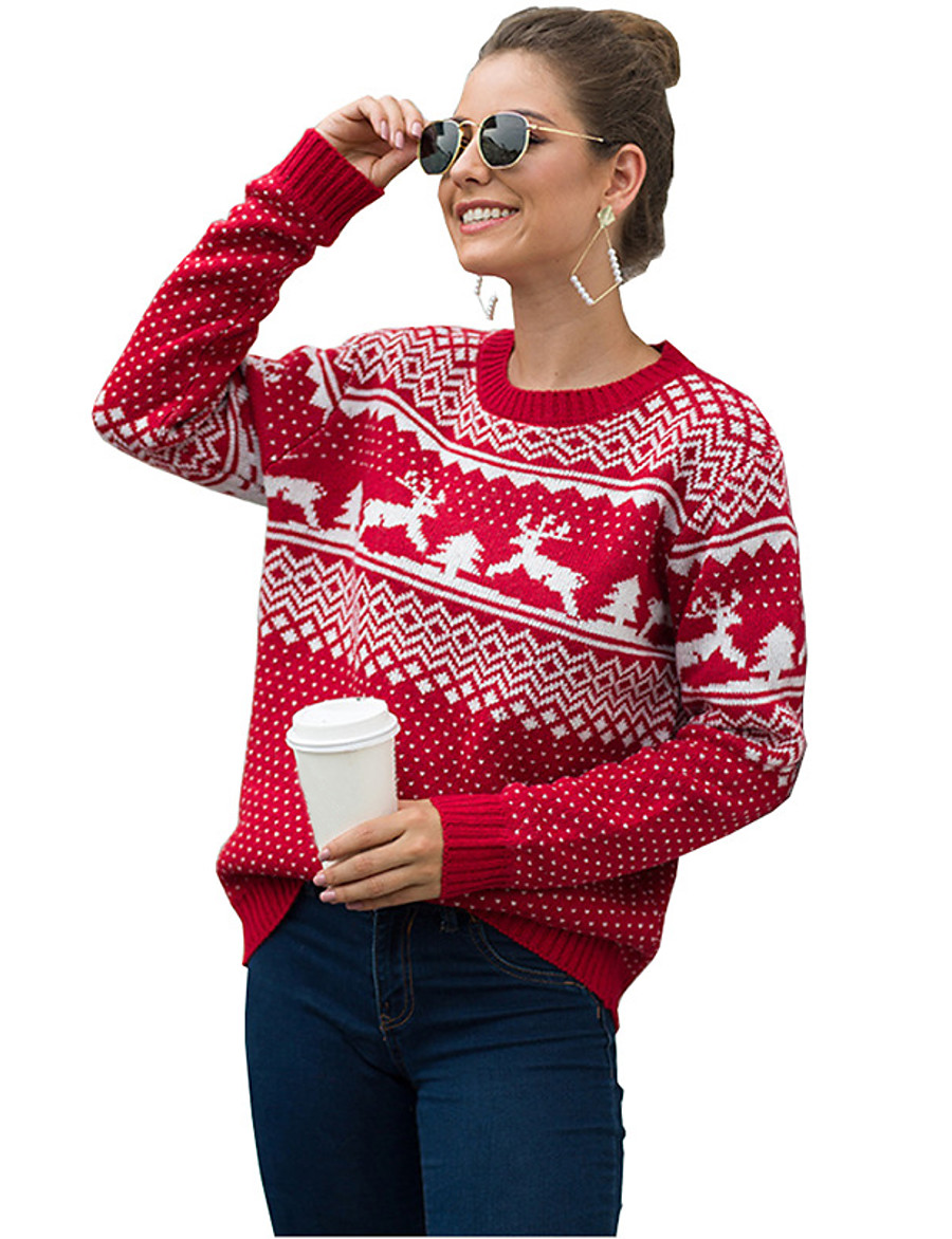 Women's Christmas Animal Sweater Long Sleeve Sweater Cardigans Crew Neck Round Neck Spring Fall Blue Red Green