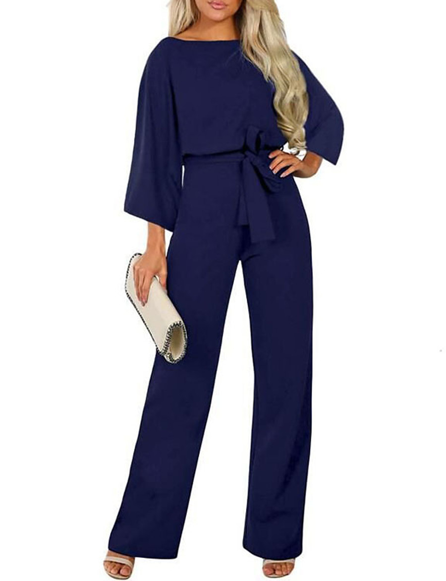 Women's Ordinary Black Khaki Navy Blue Jumpsuit Solid Colored Patchwork